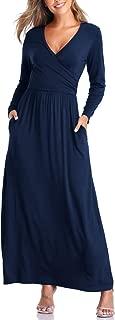 Womens Sexy Cross Wrap V Neck Sleeveless Long Sleeve High Waist Floral Plain Long Maxi Dresses