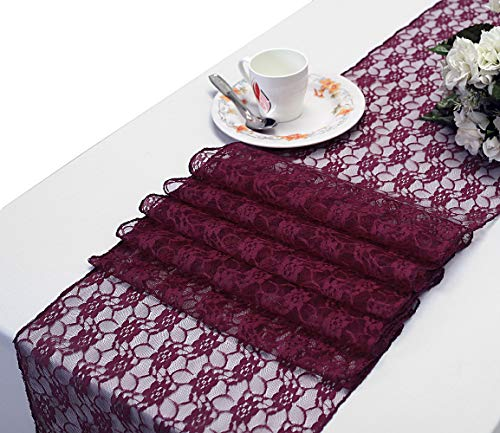 mds Pack of 10 Wedding 12 x 108 inch Lace Table Runner for Wedding Banquet Decor Table Lace Runner- Eggplant