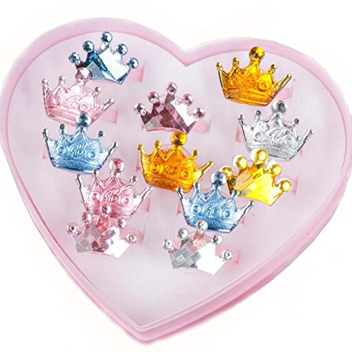 Black Temptation Crystal Crown Series Kinder Ringe einstellbar Schmuck mit rosa Schmuck Box Set 2 Box