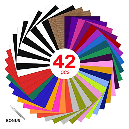 HTV Heat Transfer Vinyl Bundle : 42 Pack 12' x 10' Sheets Iron on Vinyl,27 Assorted Colors Heat Transfer Vinyl for DIY Iron on Fabrics T-Shirts Heat Press Machine or Silhouette Cameo