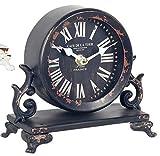 CAPRILO. Reloj de Mesa Decorativo Retro de Metal Color Negro. Adornos y Figuras. Decoración Hogar. Menaje. Muebles Auxiliares. Regalos Originales. 17 x 7 x 16 cm.