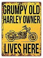 Grumpy Harley Owner 金属板ブリキ看板警告サイン注意サイン表示パネル情報サイン金属安全サイン