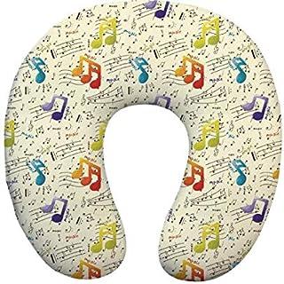 RKZM Oreiller de Cou Mou en Forme de Cou Oreiller Musique Impression de Voyage oreillers avec oreillers décoratifs de Bure...