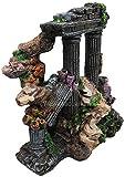 MZD Torre romana del templo griego antiguo de las ruinas del pecera de la torre romana del pecera del acuario decoración decoración 16 * 12 * 17 cm