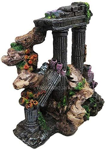 MZD Ancient Greek Temple Ruins Roman Tower Fish Tank Aquarium Ornament Decorations 16 * 12 * 17cm