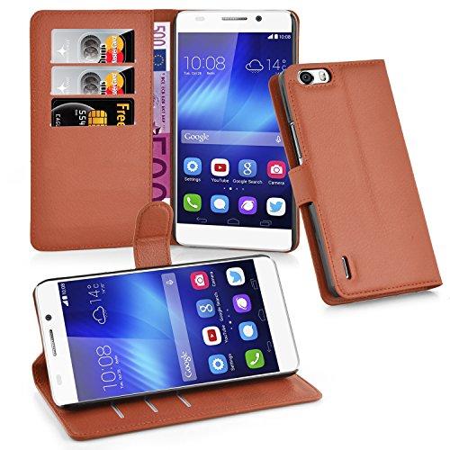 Cadorabo Hülle für Honor 6 Plus - Hülle in Schoko BRAUN – Handyhülle mit Kartenfach & Standfunktion - Case Cover Schutzhülle Etui Tasche Book Klapp Style