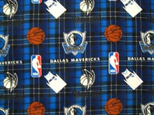 Fleece (not for masks) NBA Dallas Mavericks Plaid Basketball Sports Team Fleece Fabric Print by the yard