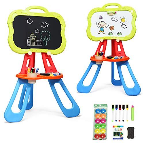 COSTWAY 3 in 1 Kinder Staffelei, Whiteboard & Tafel doppelseitig, Kindertafel magnetisch, Standtafel, Spieltafel, Zeichentafel mit Malzubehör und Ablagefach