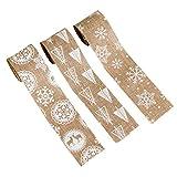 Amosfun 3 piezas cinta de arpillera de navidad tela de arpillera artesanía rollos de cinta impreso renos copos de nieve patrón decoración de camino de mesa de navidad