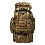 PULUSI Rucksack, hohe Kapazität, 80 l, Outdoor Camouflage Tartical Wandern Daypacks Wasserdicht Militär Taschen für Männer Reisen Camping Jagd Trekking Klettern Rucksack, Herren, grün
