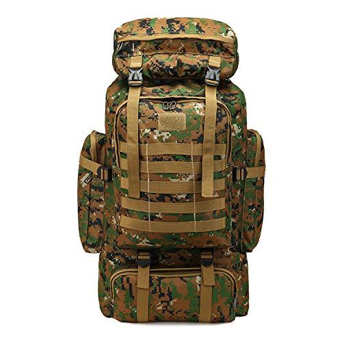 PULUSI Alta Capacità 80L Outdoor Camouflage Tartical Trekking Zaini Impermeabile Militare Borse Per Gli Uomini Viaggiare Campeggio Caccia Trekking Arrampicata Zaino, Uomo, Verde