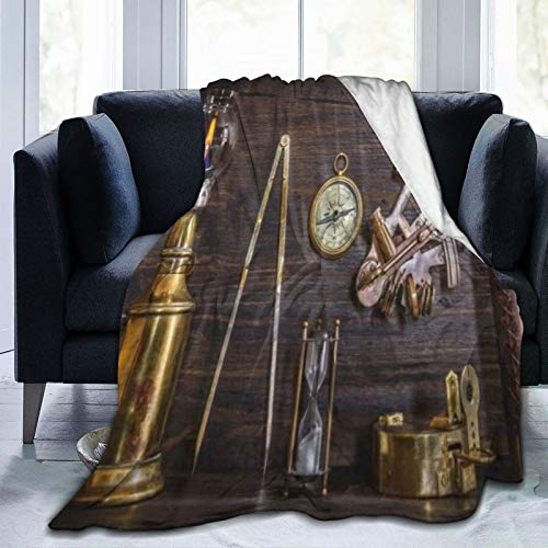TARTINY Brújula Telescopio sextante náutico Monedas Antiguas Un Reloj de Sol en la casa del capitán Travel/Single (130x150cm) Manta de Franela Ligera y cálida Suave