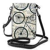 Bolso del teléfono Celular Crossbody Retro Bicicleta Mujer PU Cuero Bolso de Moda con Correa Ajustable