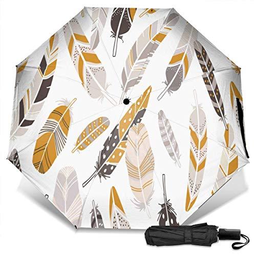 Paraguas de tres pliegues de vinilo manual de Featherfashion disperso, protección UV, paraguas a prueba de viento, paraguas de viaje