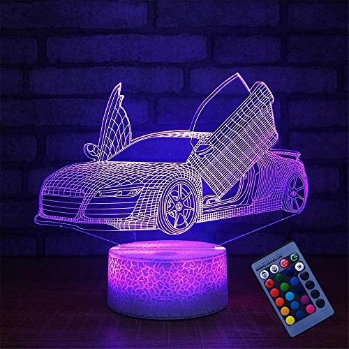 Ilusión óptica 3D Coche Deportivo Luz de Noche Control Remoto 16 Colores que Cambian USB Poder Touch Switch Decor Lámpara LED Mesa Lámpara Niños Juguetes Cumpleaños Navidad Regalo