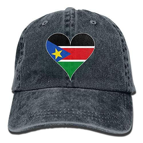 Ahdyr Gorra de béisbol Unisex Sombrero de Mezclilla de algodón Bandera de Sudán del Sur Corazón Ajustable Snapback Gorra de Caza-Azul Marino