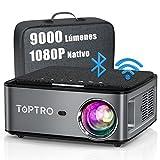 Proyector WiFi Bluetooth 1080P, 9000 Lúmenes TOPTRO Proyector 4K Soporte, Proyector 5G WiFi Full HD 1080P Nativo Soporte Ajuste Digital de 4D y Función de Zoom, Proyector LED Cine en Casa para movil