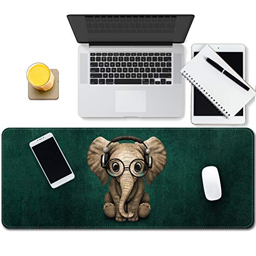 Multifunctional Desk pad, Ultra Thin Waterproof PU Desk Mat,Personalized Cute Cool Girl,31.5' x11.8' Large Gaming Mouse Pad with Non-Slip Rubber Base for Office/Home Gaming( Cute Elephant)