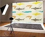 Fondo de vinilo para fotografía de animales marinos, 25 x 20 cm, patrón con ballena tiburón y tortuga, acuario estilo garabateo, fondo de vida marina para fotografía de fondo de estudio
