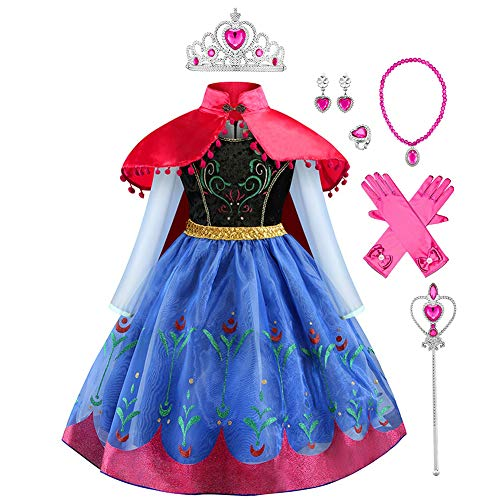 IMEKIS Disfraz de princesa de Frozen Anna con capa para niña, disfraz de princesa de cuento de hadas, cosplay, flores, cumpleaños, fiesta, Halloween, Navidad, carnaval Azul + accesorios. 2-3 Años