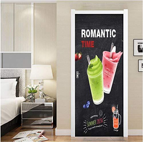 3D creatieve ijs sap aardbei Engels brief deur sticker familie decoratie slaapkamer kinderkamer meisje kamer dessert winkel pvc verwijderbare doe-het-zelf 95x215cm