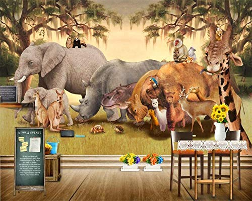 Nomte Gebruikergedefinieerde behang Afrikaanse savanne dier cartoon muurschilderingen wooncultuur woonkamer slaapkamer achtergrond wandschilderijen 3D wallpaper 450x300cm
