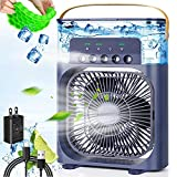 Portable Air Conditioner Fan,900ML Personal Air Conditioner with Ice Tray,5in1 Timming Evaporative Air Cooler,Cooling Fan with 7 Colors Light, 5 Sprays,3 Speeds,Ac Fan for Small Room,Office,Car,Camp
