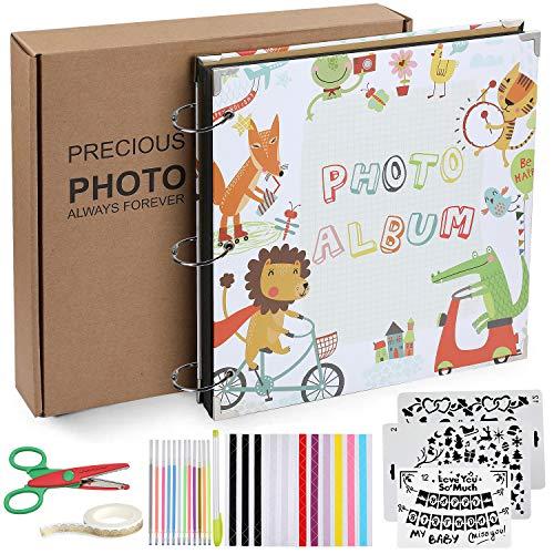 Anpro Kinder Fotoalbum 26 x 26 cm, Schwarze 80 Seiten, 40 Blatt, Hochzeitsalbum, Gästebuch Stammbuch Fotobuch für Jubiläums-, Familien- und Abschlussgeschenke