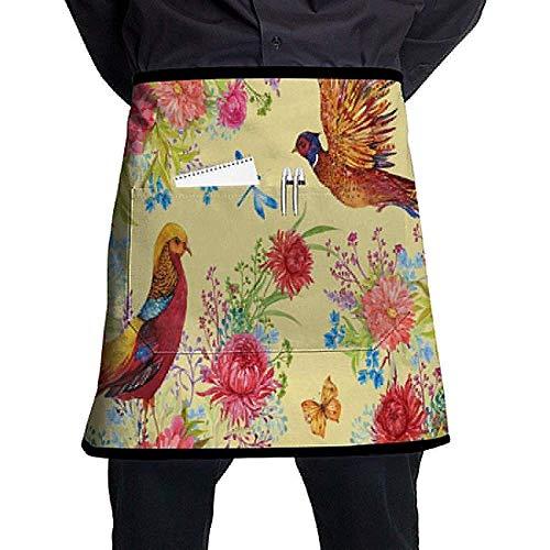 Katrine Store Tkanina ptaki bażanty i kwiaty akwarela ilustracja spersonalizowany fartuch o połowie długości z kieszeniami unisex do kuchni restauracji grilla