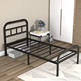 ONEMO Twin XL Bed Frame with Headboard and Footboard, 2000lbs Heavy Duty Strengthen Support Mattress Foundation, Metal Platform Bed Frame No Box Spring Needed, Quiet and Anti-Slip, Easy Assembly