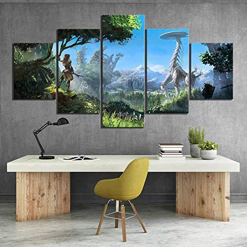 Sanzx 5 pezzi Hd Fantasy Art Game Scene Pittura Horizon Zero Dawn Videogioco Poster Art Canvas Decorative Murale 30 * 40 * 2 30 * 60 * 2 30 * 80Cm Senza cornice