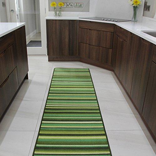 The Rug House Tapete de Entrada y Alfombras de Pasillo Luna Antiderrapante Diseño Rayas Verde - Disponible en 6 tamaños
