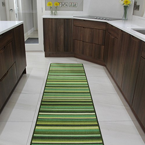 Fußmatte und Läufer Teppiche Grünen Streifen Rutschfester Sauberläufer - 6 Größen verfügbar
