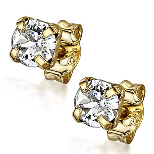Amberta 925 Sterling Silver - Gold Plated - Square Pair of Earrings for Women - Ear Studs with Gemstones - Swarovski Clear Crystals