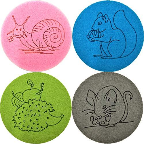 larolo Filzuntersetzer mit Kindermotiven zum Thema Gartentiere (Thema wählbar) für Gläser und Tassen zum Schutz von empfindlichen Tischoberflächen - mehrfarbiges 4er Set