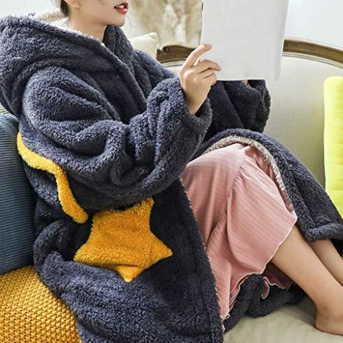 XXSHN Manta de Invierno para Mujer Sudadera con Capucha Manta de Lana con Mangas Manta de Gran tamaño Abrigo de Felpa Sudadera con Capucha mullida y cálida (Color: D, Tamaño: Medio)
