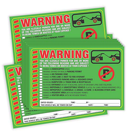 """Parking Violation Stickers Notice (Pack of 50) Tow Warning You are Illegally Parked Multi Reasons - Large Size 6"""" X 9"""" – Green Photo #5"""