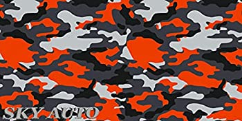 Sky Auto INC Orange Black White Gray Camouflage Vinyl Car Wrap Film Sheet + Free Cutter Cleaning Cloth Scissors & Squeegee  3FT x 5FT/ 36  x 60