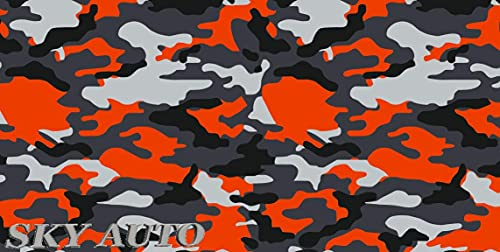 """RED-Orange Black White Gray Camouflage Vinyl Car Wrap Film Sheet + Free Cutter & Squeegee (40FT x 5FT/ 480"""" x 60"""")"""