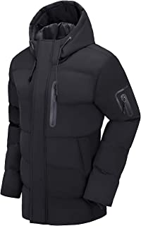 Men Puffer Jacket with Hooded Parkas Thicken Padded Jacket Windproof Outdoor for Winter Coat