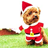 Meihejia Small Dog Santa Costume with Hat Suit, Cat Christmas Costume Santa Claus Suit Xmas Costume - M