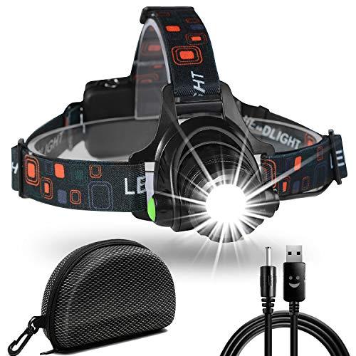 Cobiz Linterna Frontal LED USB Recargable, Linterna Cabeza 4 Modos, Linternas LED Alta Potencia 6000K IPX6 Impermeable para Camping, Excursión, Pesca, Carrera, Ciclismo