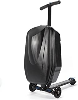 "Scooter Suitcase, 20"" PC Portable Foldable Multi Functional Scooter Suitcase Rolling Suitcase Trolley Luggage Suitable for airport/travel/business/school (USA Stock) (Black)"