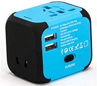 XIMINGJIA-O Power Plug Adapter - International Travel - 2 USB Ports in Over 150 Countries - 100-240 Volt Adapter - (1 Pack) Green International Converter, (Color : Blue)