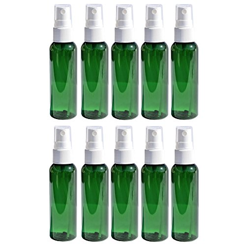 Travel Spray Bottles 2oz. Green PET Plastic Sets with White Fine Misting Sprayers For Essential Oils, Aromatherapy, Perfumes, Bug Repellant, Liquids (10)