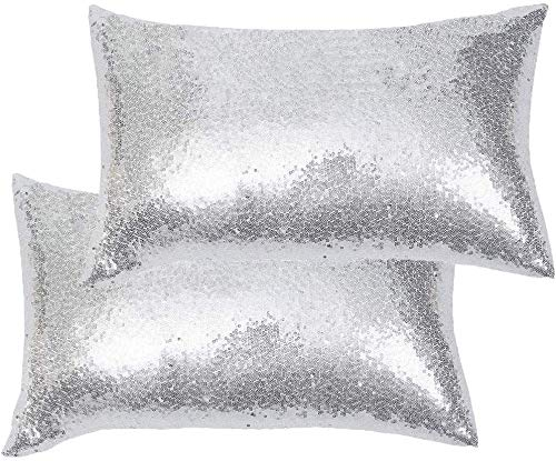 Eternal Beauty|Decorative 2 PCS Rectangular Sequin Cushion Covers 12'x20',Sparkle Throw Pillow Case for Home Decor Party with Invisible Zipper,Silver (30cmx50cm)