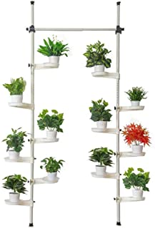 Indoor Plant Storage, FOME Metal Spring Double Pole Stand Corner Flower Display Rack Plant Storage Shelf Hanging Plant Stand Planter Rack Indoor with 12 Trays 2 Hooks 1 Telescopic Rod