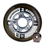 K2 Inline Skates Rollenset 80 mm Performance Wheel / ILQ 7 Ersatzrollen & Kugellager  - Schwarz - 8...