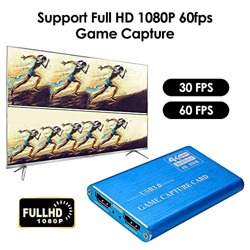 TOPQSC Tarjeta de Captura de Video USB3.0 Dispositivo Captura de Video HDMI 4K 60 fps HD 1080p Capturadora de Vídeo Caja Grabadora Juegos con Entrada de Micrófono para PS4 NS Switch Xbox Host (Azul)