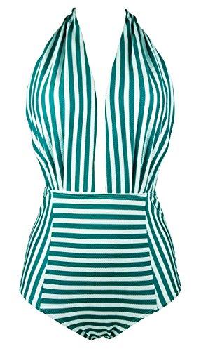 COCOSHIP Dark Green & White Striped Retro One Piece Backless Bather Swimsuit High Waisted Seersucker Materials Swimwear Monokini M(FBA)